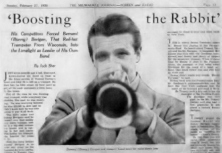 A headline and photo from a feature article on Berigan that appeared in the Milwaukee Journal on February 27, 1938. At this time, he was still receiving a big promotional push from his booking agency, Music Corporation of America (MCA).