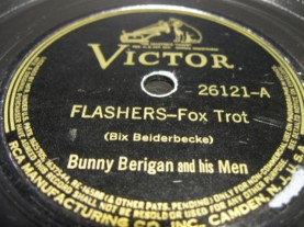 "The label for the lovely recording Berigan made of Bix Beiderbecke's composition ""Flashes."" RCA Victor was rather out of touch with what Berigan was recording by the time this record was produced in late 1938. (Note the misspelling.)"